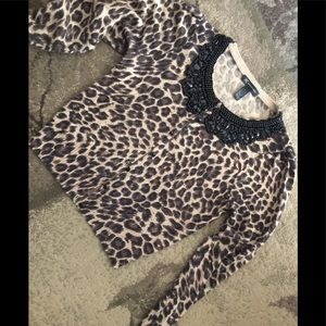 Leopard Cardigan With Heavily Beaded Collar